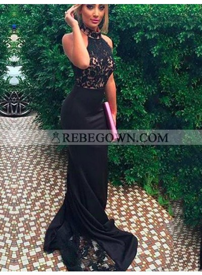 Charming Trumpet/Mermaid  Black 2021 Prom Dresses With Appliques