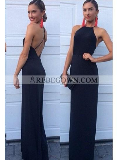 2021 Charming Sheath Backless Black Prom Dresses