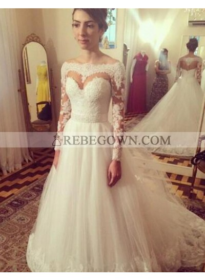2021 A Line Tulle Sweetheart Long Sleeves Wedding Dresses