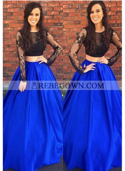 Elegant A-Line Royal Blue With Black Long Sleeves Two Pieces Lace 2021 Prom Dresses