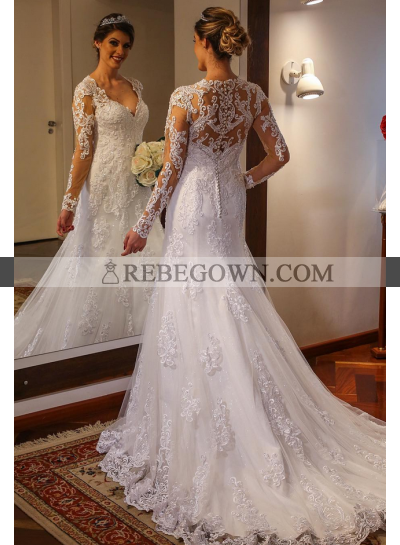 2021 A Line Long Sleeves Tulle With Appliques Sweetheart Wedding Dresses