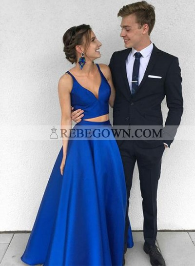 A-Line Satin Royal Blue Satin Two Pieces 2021 Prom Dresses