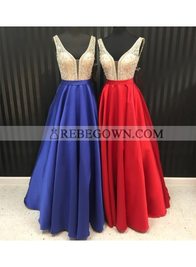 Cheap Satin A-Line Red Beaded 2020 Prom Dresses