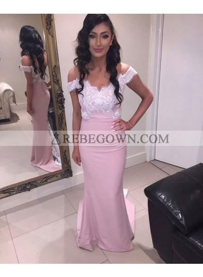2021 Satin Sheath Off The Shoulder Prom Dresses