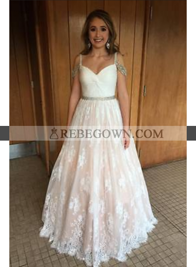 Cheap A-Line Lace Sweetheart 2021 Prom Dresses