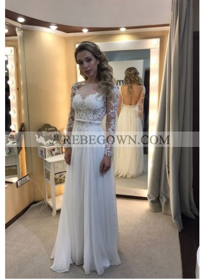Cheap A-Line Long Sleeves White Backless 2021 Prom Dresses