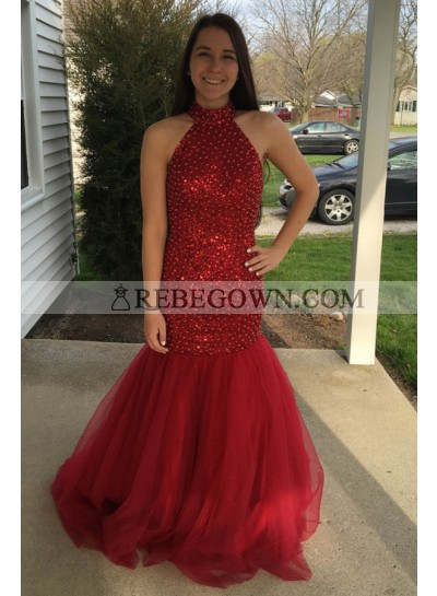 Sexy Trumpet/Mermaid  Red Backless Beaded 2020 Prom Dresses