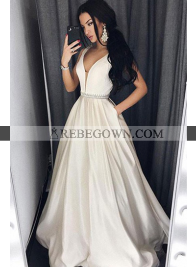Cheap A-Line Sweetheart Satin Ivory Prom Dresses 2021