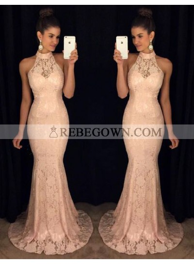 Sexy Trumpet/Mermaid  Pearl Pink Lace 2020 Prom Dresses