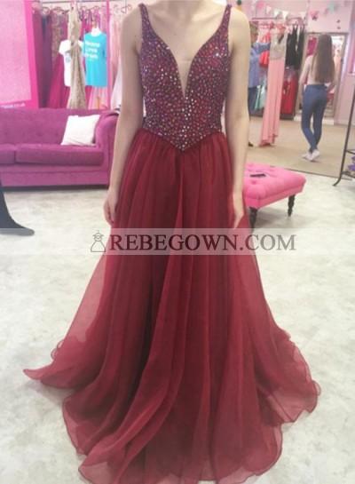 2021 Chiffon A-Line Burgundy Beaded V Neck Prom Dresses