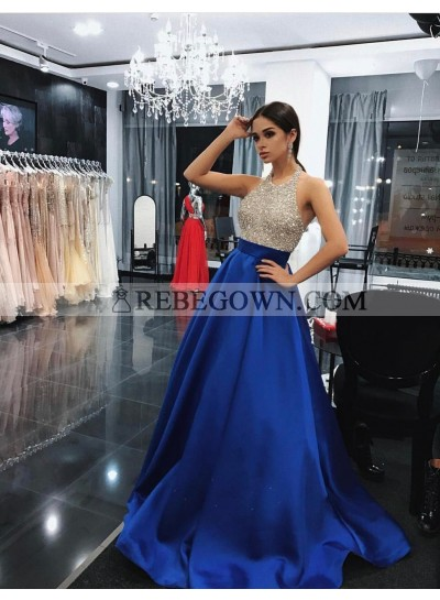 Charming Satin Royal Blue Beaded 2020 A-Line Prom Dresses