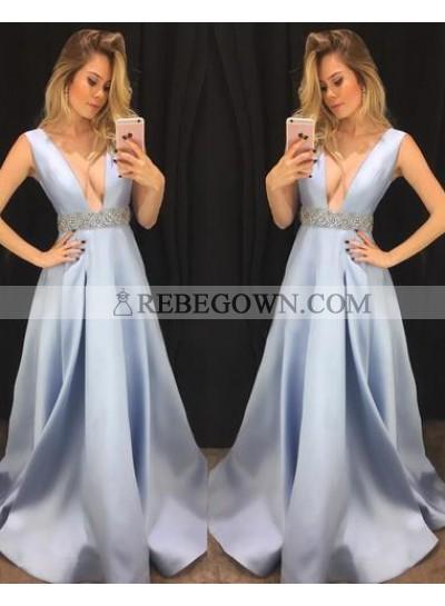 Elegant A-Line Satin Deep V Neck Light Sky Blue 2021 Prom Dresses