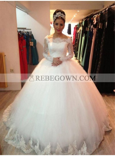 2021 White Long Sleeves Off The Shoulder Ball Gown Wedding Dresses