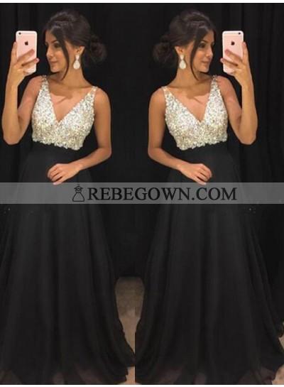 Cheap A-Line Chiffon Black Beaded 2021 Prom Dresses