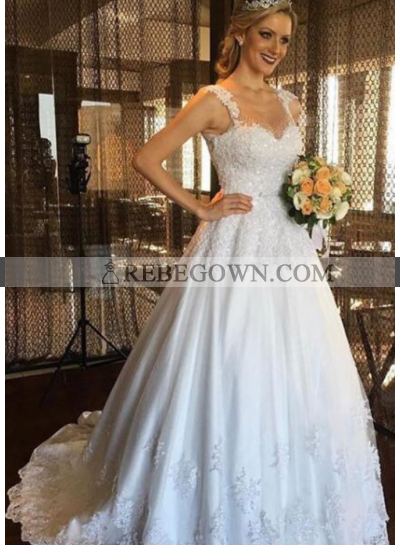Classic A Line Sweetheart With Straps 2020 Wedding Dresses With Appliques