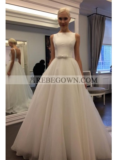 2021 Elegant A Line Organza Floor Length Backless Plain Wedding Dresses