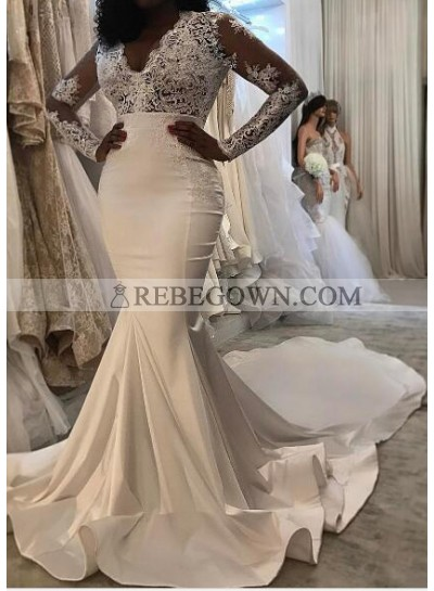Sexy Mermaid  Long Sleeves Satin And Lace 2021 Wedding Dresses