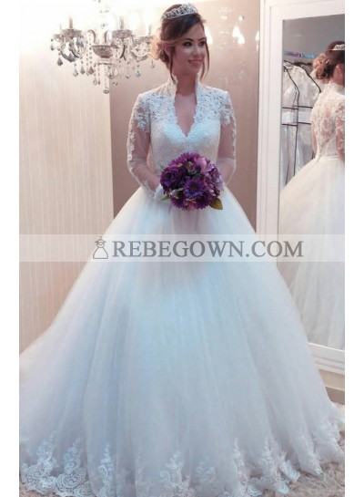 Elegant Ball Gown V Neck Long Sleeves Tulle 2021 Wedding Dresses With Appliques