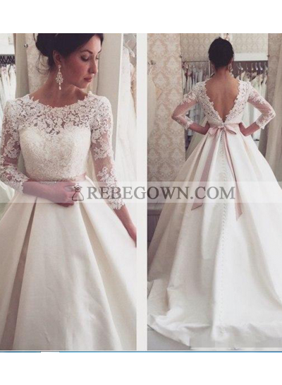 2021 A Line Backless Satin Long Sleeves Bowknot Wedding Dresses