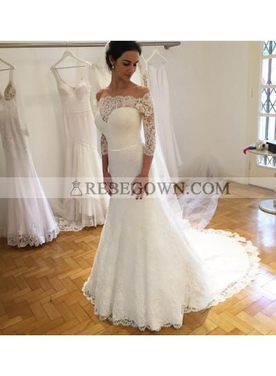 2021 Elegant Sheath Sweetheart Lace Long Sleeves Wedding Dresses