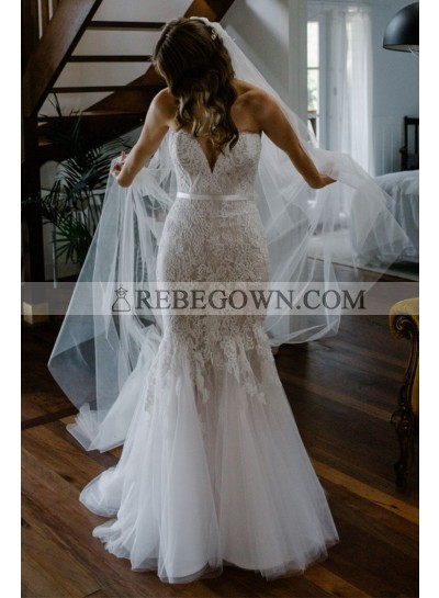 2021 Charming Sweetheart Mermaid  Tulle With Lace Wedding Dresses