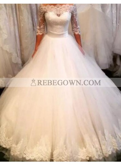2021 Off The Shoulder Ball Gown Tulle Half Sleeves Wedding Gown