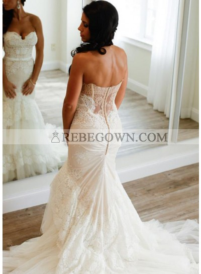 Sexy Mermaid  Sweetheart Lace Layers 2021 Wedding Dresses