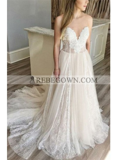 2020 New A Line Sweetheart Lace Over Tulle Wedding Dresses