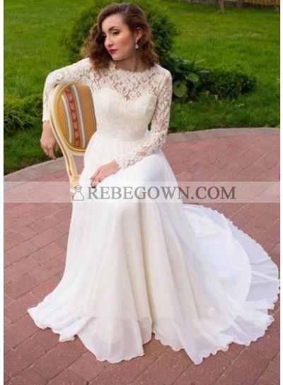 2020 New A Line Chiffon Long Sleeves Lace Wedding Dresses