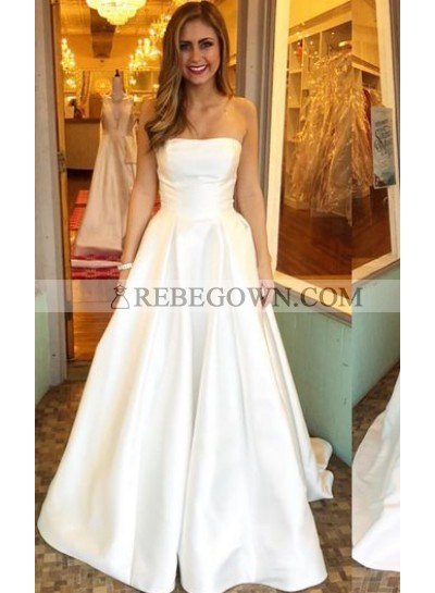 Simple A Line Strapless Floor-length Plain 2021 Wedding Dresses