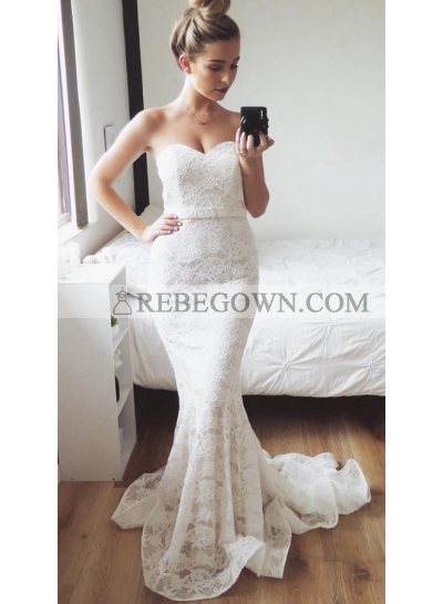 Charming Mermaid  Sweetheart Lace Small Train Wedding Dresses 2021