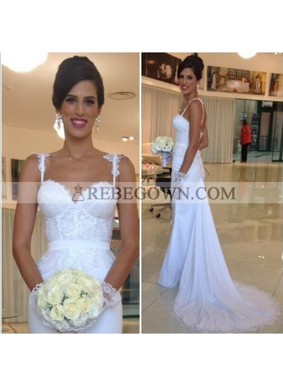2020 Cheap Sheath Satin Over Lace Sweetheart With Spaghetti Straps Wedding Dresses