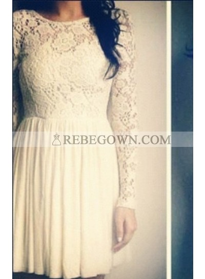 Cheap A Line Long Sleeves Lace Knee Length Scoop Short Wedding Dresses