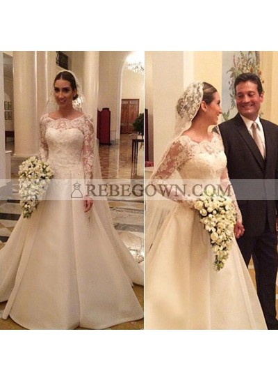 Elegant A Line Satin Scoop Neck With Long Sleeves Lace Long Wedding Gown