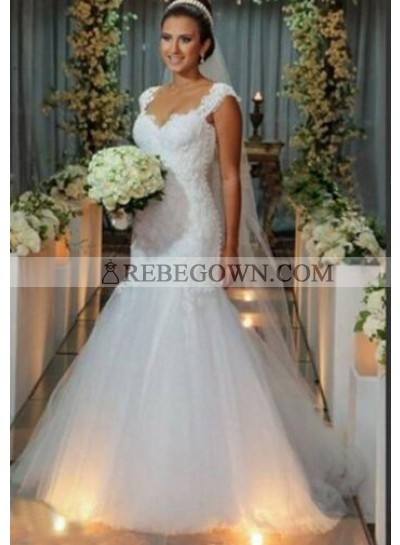 Sexy Mermaid  Tulle White Sweetheart Lace Wedding Dresses With Straps