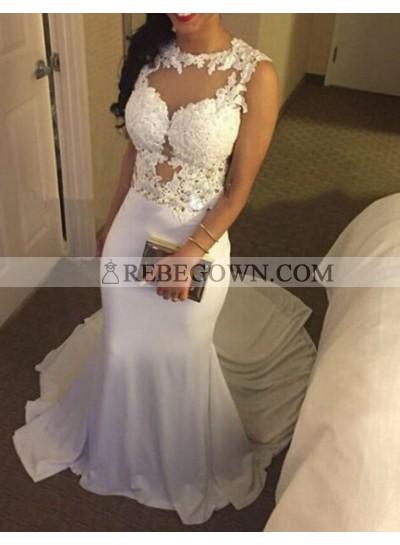 2021 Sexy Mermaid White Long Train Prom Dresses