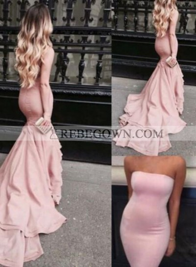 2020 Glamorous Pink Strapless Sweep Train Mermaid Prom Dresses