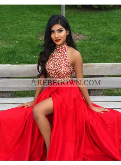 2020 Siren Princess/A-Line Two Pieces Red Beaded Prom Dresses