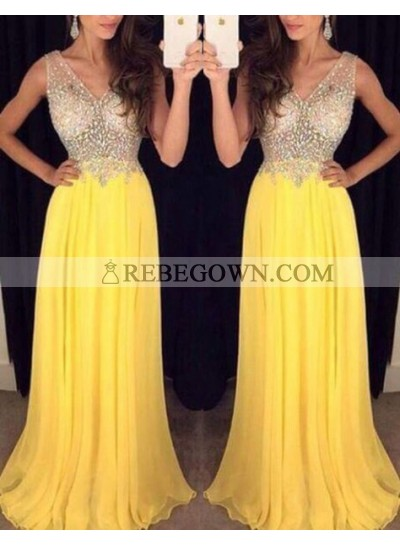 2021 Cheap Chiffon Princess/A-Line Beaded Daffodil Prom Dresses
