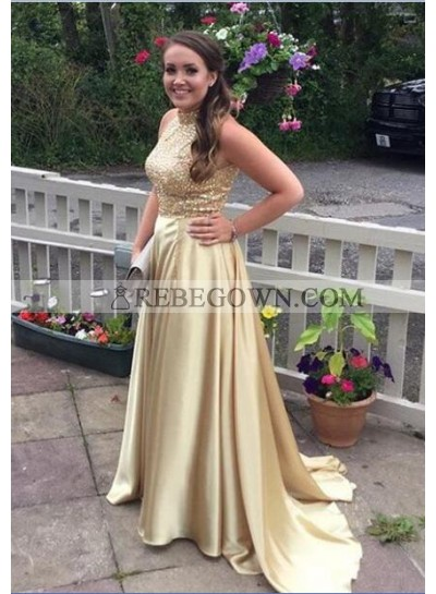 2021 Charming Princess/A-Line Satin Gold Prom Dresses