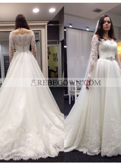 2021 Newly A Line Lace Long Sleeves With Beaded Belt  Long Wedding Dresses