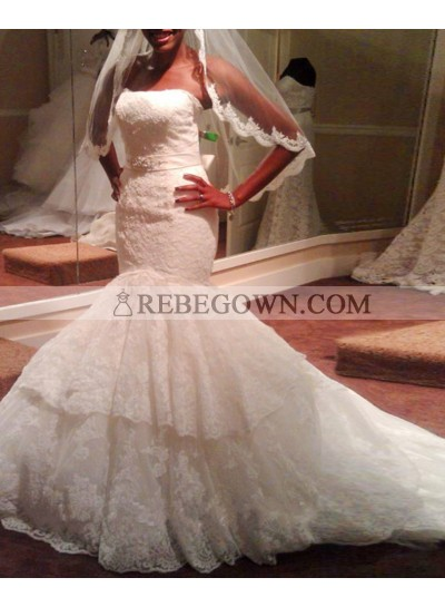Sexy Mermaid  Strapless Ruffles With Belt Court Train Lace Wedding Dresses 2021