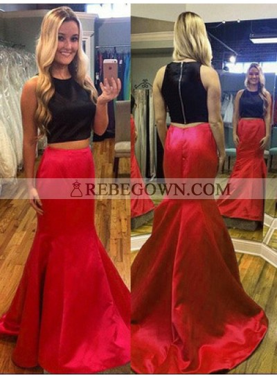 2021 Red And Black Trumpet/Mermaid  Satin Two Pieces Prom Dresses