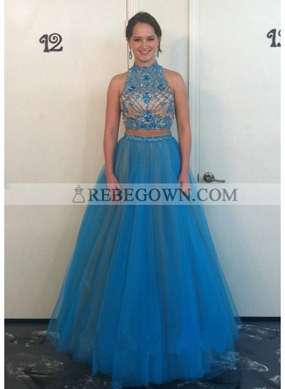 A-Line Tulle 2021 Two Pieces Prom Dresses