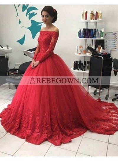 2020 Gorgeous Red Long Sleeve Off-the-Shoulder Lace Natural Ball Gown Tulle Prom Dresses