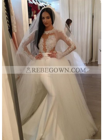 2021 Sexy Satin Long Sleeves Wedding Dresses With Detachable Tulle Train