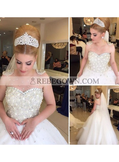 Gorgeous Tulle Ball Gown Wedding Dresses With Pearls
