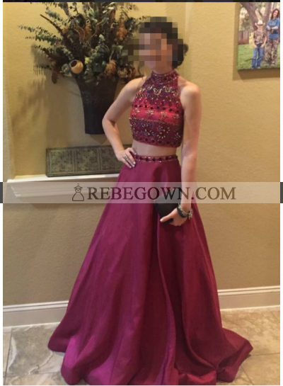 A-Line Satin Burgundy 2021 Two Pieces Prom Dresses