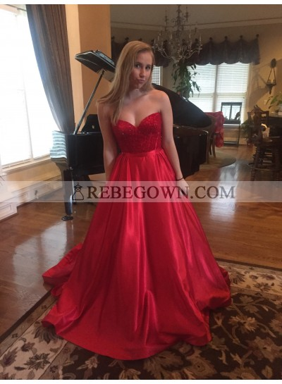 A-Line Red Satin Sweetheart 2020 Prom Dresses Cheap