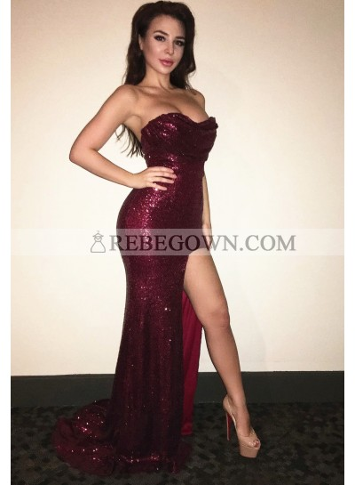Sexy Sheath Sweetheart Sequence Burgundy 2021 Prom Dresses